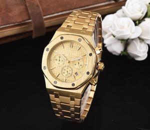 erkekler için 2020 Tüm Subdials Çalışma eğlence Erkek Saatler Paslanmaz Çelik Kuvars saatı Kronometre izle İzle En Hediye Relojes