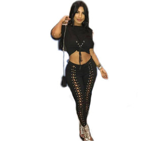 Summer Women tracksuits Two-piece set Sexy eye strap Lace up Suit Women set