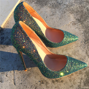 Top-Qualität Größe 33 bis 46 desiger hohe Absätze rote untere Schuhe Glitter echtes Leder spitze Zehe Stilettos tradingbear Pailetten