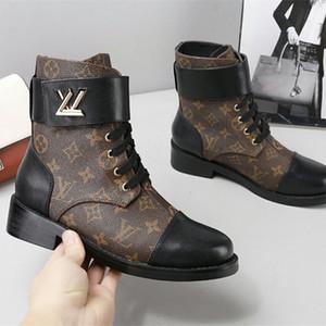 Las nuevas mujeres Botas MARAVILLAS PLANA RANGER para mujer del tobillo botines mujeres de la manera de los zapatos ocasionales de las mujeres de los botines de becerro botas 1A2Q3N con la caja original