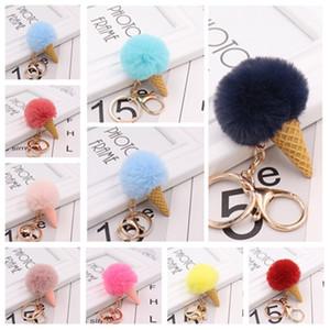 Colorful Ice Cream chiavi del supporto della catena chiave della peluche anello ciondolo pendente della sfera Portachiavi bambino chiave Decoration T2C5186