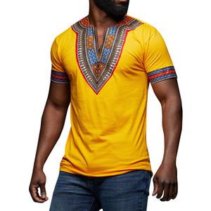 Afrika Giyim Dashiki V Yaka T Gömlek Ulusal Geleneksel Baskı Maxi tişört Afrika Dashiki Hiphop Kısa kollu Tişört Erkekler