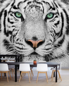 Bacal Individuelle Fototapete Tiger Animal Wallpapers 3D Schwarz Weiß Große Wandbild Wohnzimmer TV Kulisse 3D Wandtapeten Tapeten-Rolle