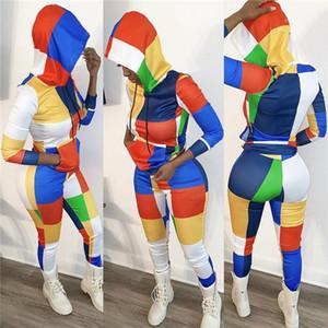 الخريف 2PCS البلوز الرباط رياضة دعوى الإناث نصب منصة الأزياء مجموعات عرضي إمرأة التباين ملون منقوش رياضية الربيع