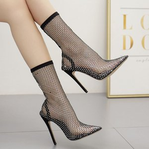 Mesh Women New Net Ankle Sexy Air Shoes Summer Party Boots Bling Thin Heels Female Sandal Boots High Bling Pumps Sxqsg