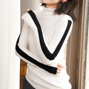 Fondo Corto YICIYA manga del color principal de la mujer suéter auto-cultivo puro de la cachemira Cerrar Knitting representación ropa superior sin forro