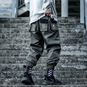 2020 Hip Hop Moda de carga tácticos Pantalones Multi-bolsillo de la cinta Streetwear hombres lápiz de las bragas masculinas Harajuku Joggers Pantalones XN42