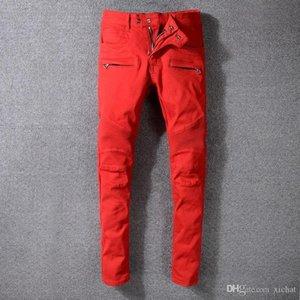 Mens Fold Classic Red Skinny Jeans Fashion Designer plissé lambrissé Zipper Slim Fit Motard Hip Hop Denim Pants 1068