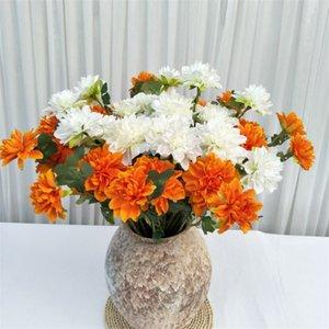 """Sahte Kısa Kök Dahlia (2 kafaları / adet) 26.77 """"Uzunluk Simülasyon Ponpon Şakayık Düğün Ev Vitrin için Dekoratif Çiçekler"""