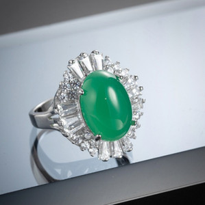 Chrysoprase Gems Oval 925 Sterling Silver Rings Decorative Border White Zircon Women's Anniversary Gift for Monter Rings