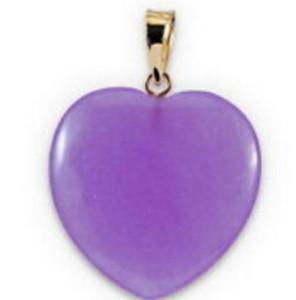 collana Trasporto libero ++++ Jew2179 Purple Jade Love Heart 18KGP ciondolo e collana