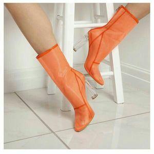 Модный дизайнер острым носом летняя обувь Boot Clear на высоком каблуке на молнии пинетки женщин сексуальные прозрачные 10 см каблуки из перспекса сетчатые ботильоны