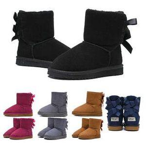 Дешевле Дизайнер Дети Boots РГД Snow Winter Boots Bailey Bow Дети Девочка Мальчик Тройной Черный Розовое Хаки голеностопных пинетки 26-35