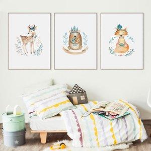 İskandinav Sevimli Karikatür Hayvan Fox Geyik A2, A3, A4 Tuval Sanat Soyut Resim Baskı Poster Resmi Duvar Çocuk Odası Ev Dekorasyonu