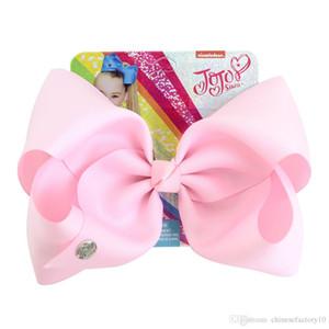 8 дюймов Jojo Сива волос смычка с зажимами Rhinestone Papercard Девушки Радуга аксессуары для волос шпилька Hairband INS