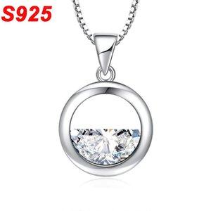 Dainty 925 Sterling Silver Crystal Circle Necklace Choker Girls Kids Colar Feminino Collarbone Minimalist Delicate Jewelry SN008