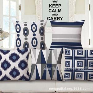 Meng Qi Textiles para el hogar Geometría azul Funda de almohada Abrazo Cojín de moda Conjunto de muestra entre sofá Cojín trasero