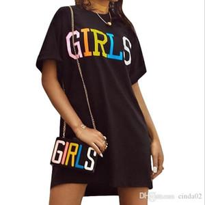 Ragazze Colorate lettere abiti di stampa Nero girocollo abito T-shirt modo di alta qualità T-shirt