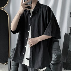Men Shirts Half Sleeve Large Size 2XL Solid Simple Chic Harajuku All-match Mens Shirt Casual Streetwear Korean Style Retro New