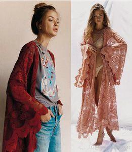 Femmes 2019 Eté Automne Imprimer Fleur extérieur Dentelle Cardigan Boho Tunique Maxi Dress Casual Holiday Beach Wear rose rouge M-XXL Sundress