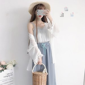 3 Piece Matching Sets Cute Pink Set Women Clothes 2020 Long Cardigan and Chiffon Suspenders Tops+Pants Suits Casual Outfits