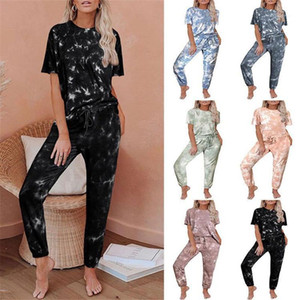 Nightgown Gradient Print Traditional Pajama Sets Women Two Piece Summer Outfits Pants Set Summer Womens Designer