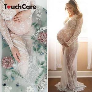 Touchcare dentelle robes de maternité Photographie Props Transparent enceinte robe de soirée Séance photo robe évider plage Vêtements S200107