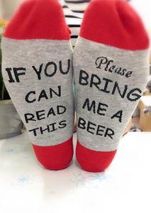 Se você pode ler este favor Traga-me vinho uma cerveja Meias de Natal Imprimir cartas Presentes Curto Meias Homens Mulheres Unisex engraçados Red Grey