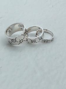 Geniş Avrupa Amerika Moda Erkekler Lady Kadınlar 925 Gümüş İşlemeli İskelet Kafatası Desen G harfleri ve Dar Aşıklar Halkalar Size5-10