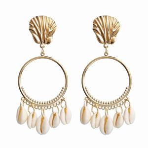 Seashell Ohrringe 7 Farben-großer Kreis-Ohrringe für Frauen Alloy Sea Shell Ohr-Bolzen-Sommer-hängenden Ohrring LJJO7093