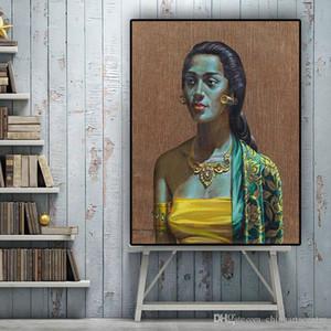 Virginia. Pintado a mano Tretchikoff Vintga balinés Chica pintura al óleo clásica del retrato en lona Arte de la pared Decoración para el Hogar de alta calidad P172