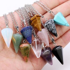Pendiente natural de collar de cristal collar de piedras preciosas Arificial impreso manera natural Cono Péndulo de días festivos Collares WY475Q regalo