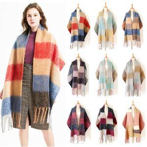 여성 거친 술 체크 스카프 패션 특대 겨울 따뜻한 격자 무늬 스카프 클래식 남성 타탄 랩 목도리 LJJT1439을 더블 양면