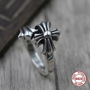925 sterling silver ring personality fashion cross flower opening style fashionable street punk style jewelry to send a gift to lovers