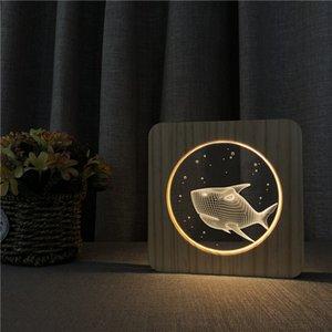 Sharelife Creative Wood + Acrylic Shark Warm White LED USB ليلة ضوء مصباح طاولة المنزل للأطفال هدية عيد 4674