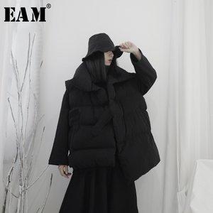[EAM] Kadın Big Boy Asimetrik Pamuk dolgulu Gevşek Fit Yelek Yeni Yaka Kolsuz Moda Tide İlkbahar Sonbahar 2019 19A-A592