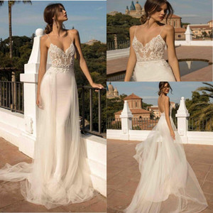 Praia Mermaid Wedding Dresses Spaghetti Strap Tulle Lace Applique overskirt Backless longa do vestido de casamento de Boho Bride Dress 2020