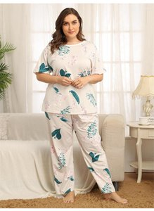 Pajama Sets Traditional Style Floral Print Two Piece Pants Women Relaxed Home Sleepwear Plus Size Women