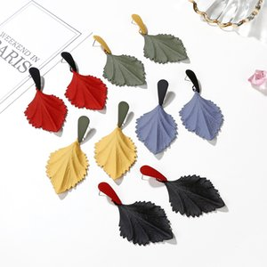 Free DHL 5 Colors Alloy Leaf Earrings Eardrop Fashion Unique Wild Stud For Women Fashion Accessories Gifts Jewelry