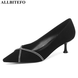 ALLBITEFO new spring genuine leather high heels party women shoes women high heel shoes thin heels office ladies