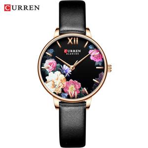 2019 Leather Trend Fashion Flower Orologi CURREN Classic Black Orologio da polso femminile Orologio Ladies Watch Quartz Relogios feminino