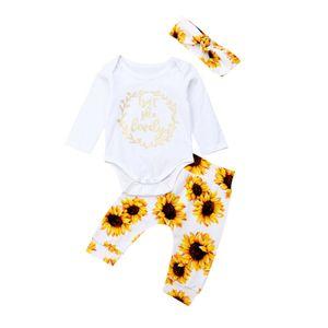 Fashion Newborn Baby Girl Autumn Clothes Tops Romper Bodysuit Sunflower Pants Outfits New Born Baby Clothes Set Infantil Menina