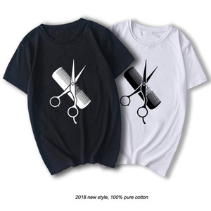 RAEEK Hip-Hop Simple Splicing Tee Tops Shirt Short Sleeve Men Gift Hairdresser Stylist Scissors Comb O-Neck T Shirts CY200515