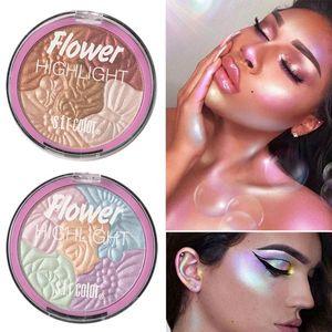 NOVO Flor Iluminador 3D marcador pó Eyeshadow face Makeup Palette Brilho Shimmer do arco-íris Destaque Contour Bronzer