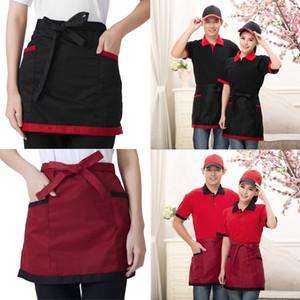 4 스타일 범용 남녀 주방 요리 호텔 요리사 앞치마 요리사 유니폼 허리 앞치마 짧은 앞치마 웨이터 앞치마 포켓