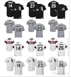 Özel Erkek Bayan Çocuk ChicagowhiteSox Jersey 23 Robin Ventura 14 Paul Konerko 26 Avisail Garcia Ev Siyah Çocuklar Beyzbol Jersey ince