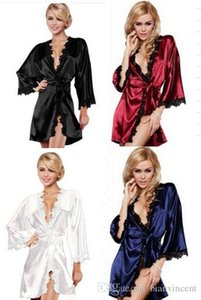 Nightgowns Sexy Lingerie Set Sleepshirts V-Neck Hot Women sexy Nightwear Satin Lace Lingerie Sleepwear Intimate night Gown Robes Apparel
