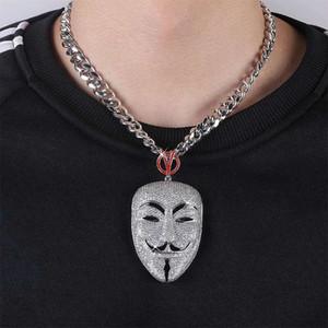 hip hop V per Vendetta maschera collane ciondolo per gli uomini donne dei diamanti di lusso maschera ciondoli in platino placcato zircone collana catena rame cubano