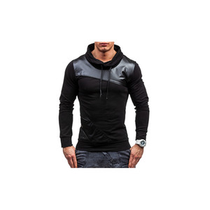 Mens Designer Brand Hoodies Leather Patchwork Hoodies Luxury Fashion Sports Pullover Casual Hooded Sweater Sweatshirt Tops