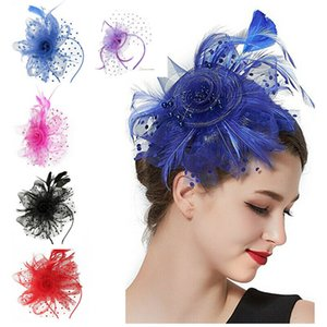 2020 Clipes New Fascinator Acessórios de cabelo elegante Headwear fantasia forma penas Beads cabelo Pinos Cocktail Cabelo Partido para meninas